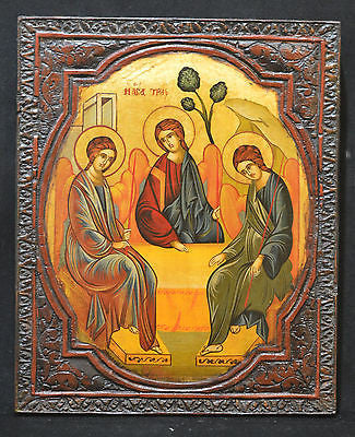 Orthodox Icon Greek Byzantine Handpainted Holy Trinity Old Wood