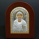 Orthodox Silver 925 Icon Greek Handmade Byzantine Saint Spyridon 7,5x9,5cm