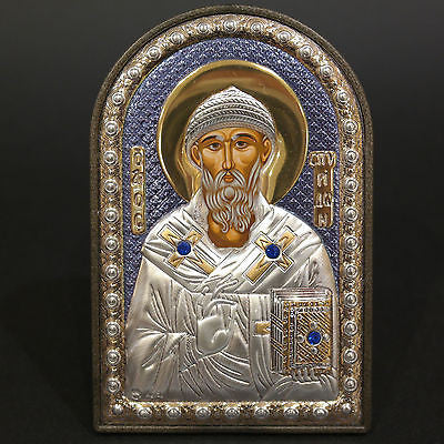 Orthodox Silver 925 Icon Greek Handmade Byzantine Saint Spyridon 8x12cm