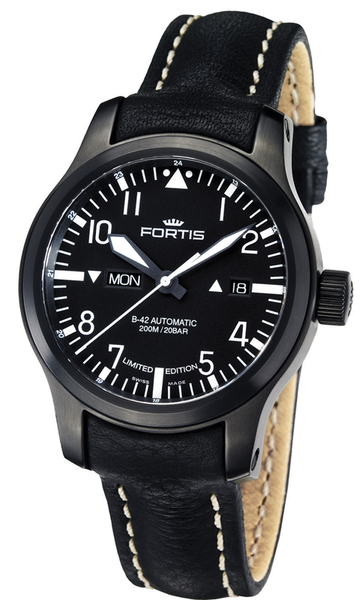 FORTIS B-42 Flieger Black Day/Date - Ref. 655.18.81 L01