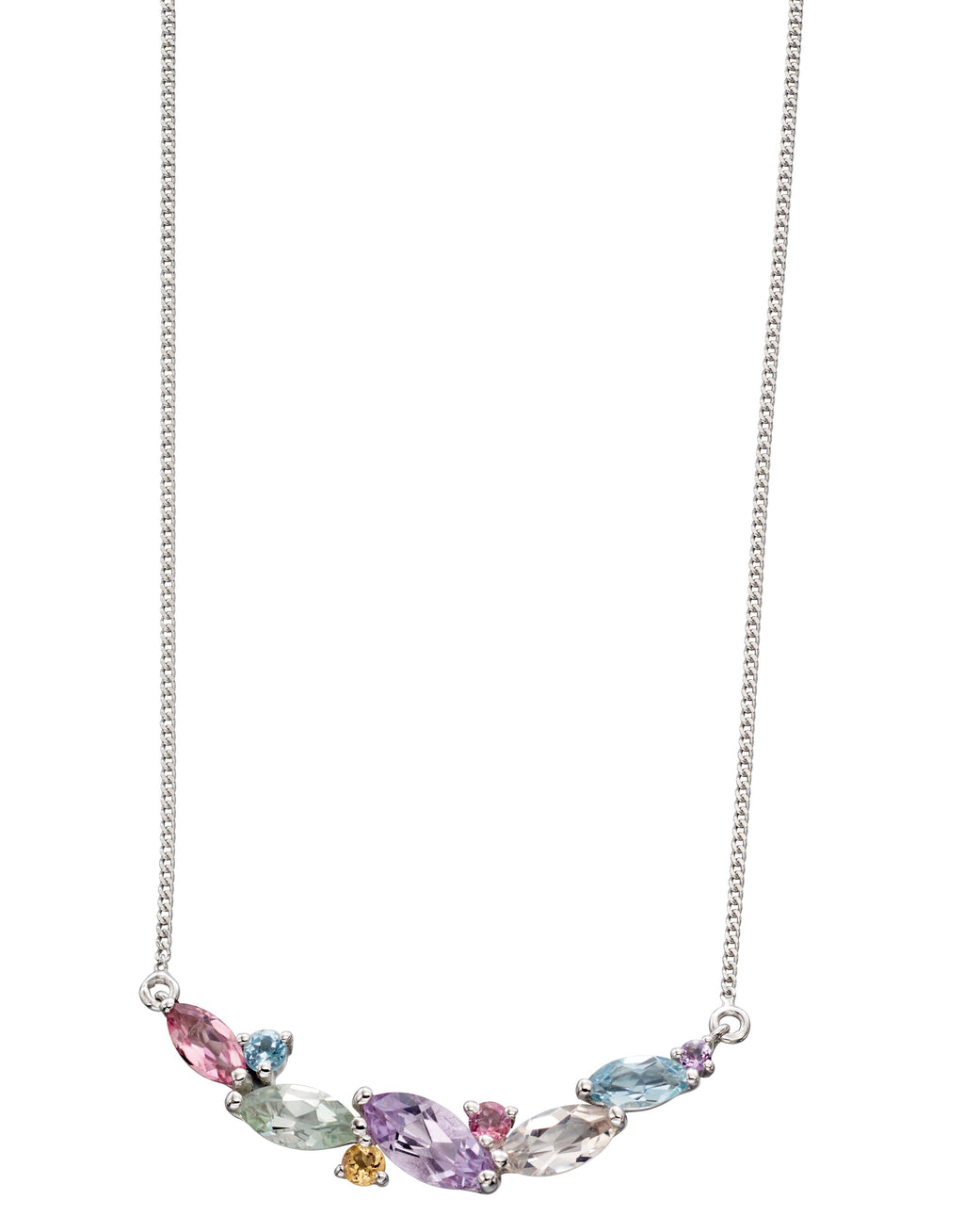9ct White Gold Multi Gemstone Necklace
