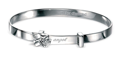 Childrens Sterling Silver Angel Expanding Bangle SV4072B - Jay's Jewellery