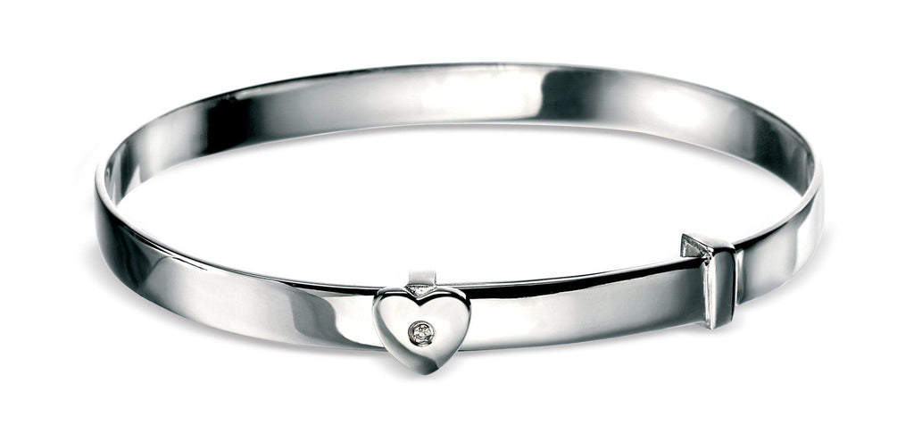 Childrens Sterling Silver Heart Bangle SV773B - Jay's Jewellery