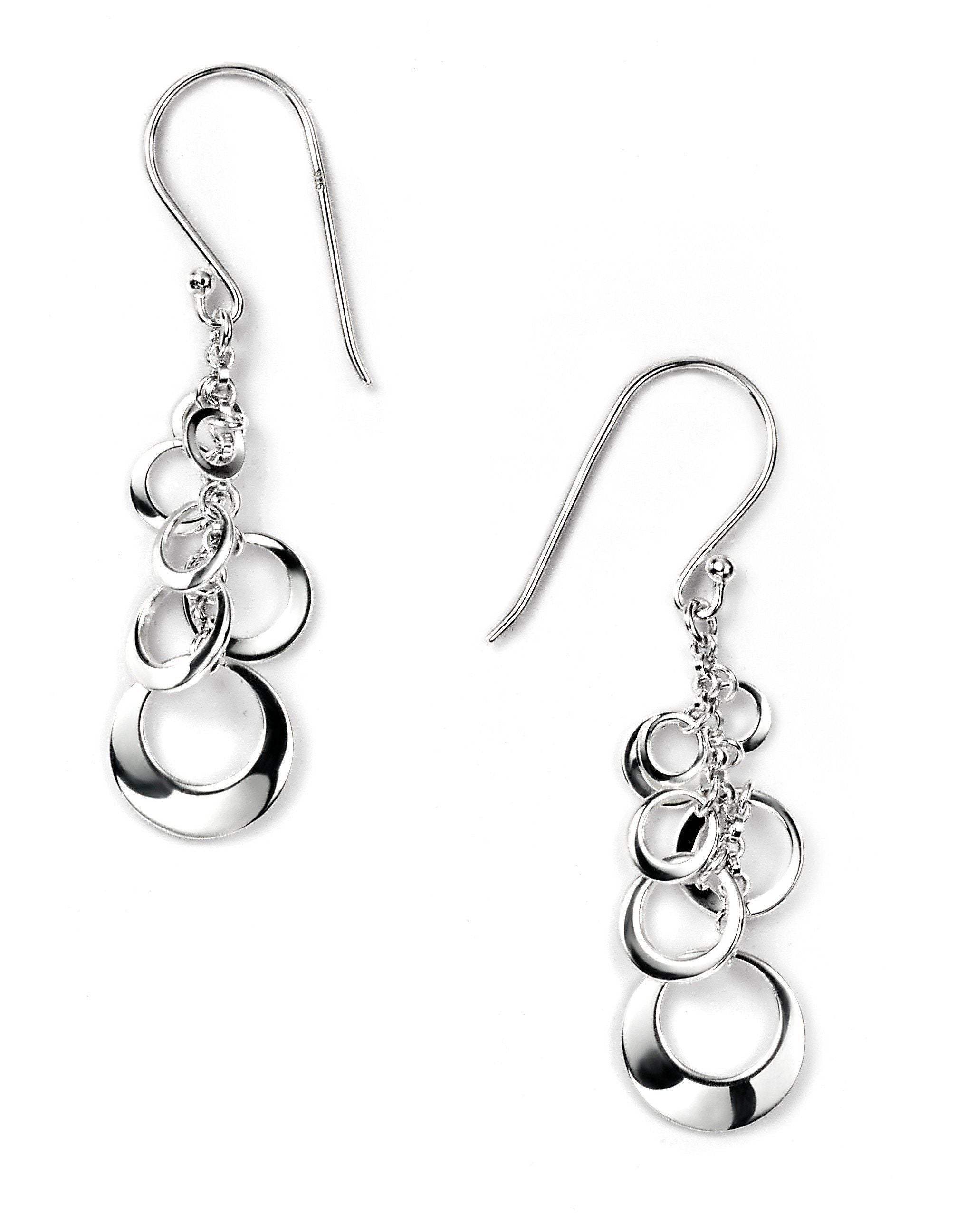 Sterling Silver Multi Disc Drop Earrings SV4748E - Jay's Jewellery