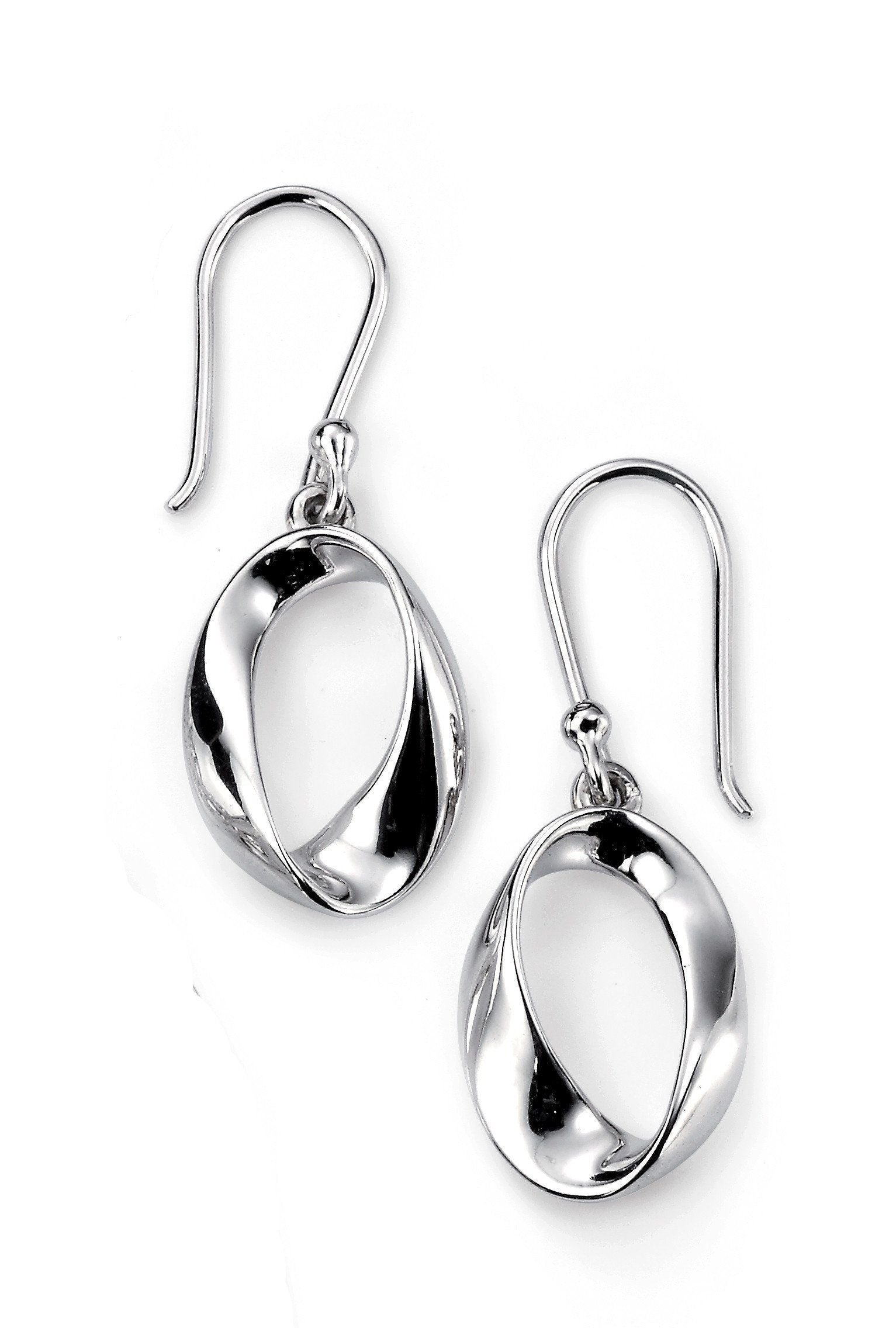 Sterling Silver Twis Hoop Drop Earrings SV4089E - Jay's Jewellery