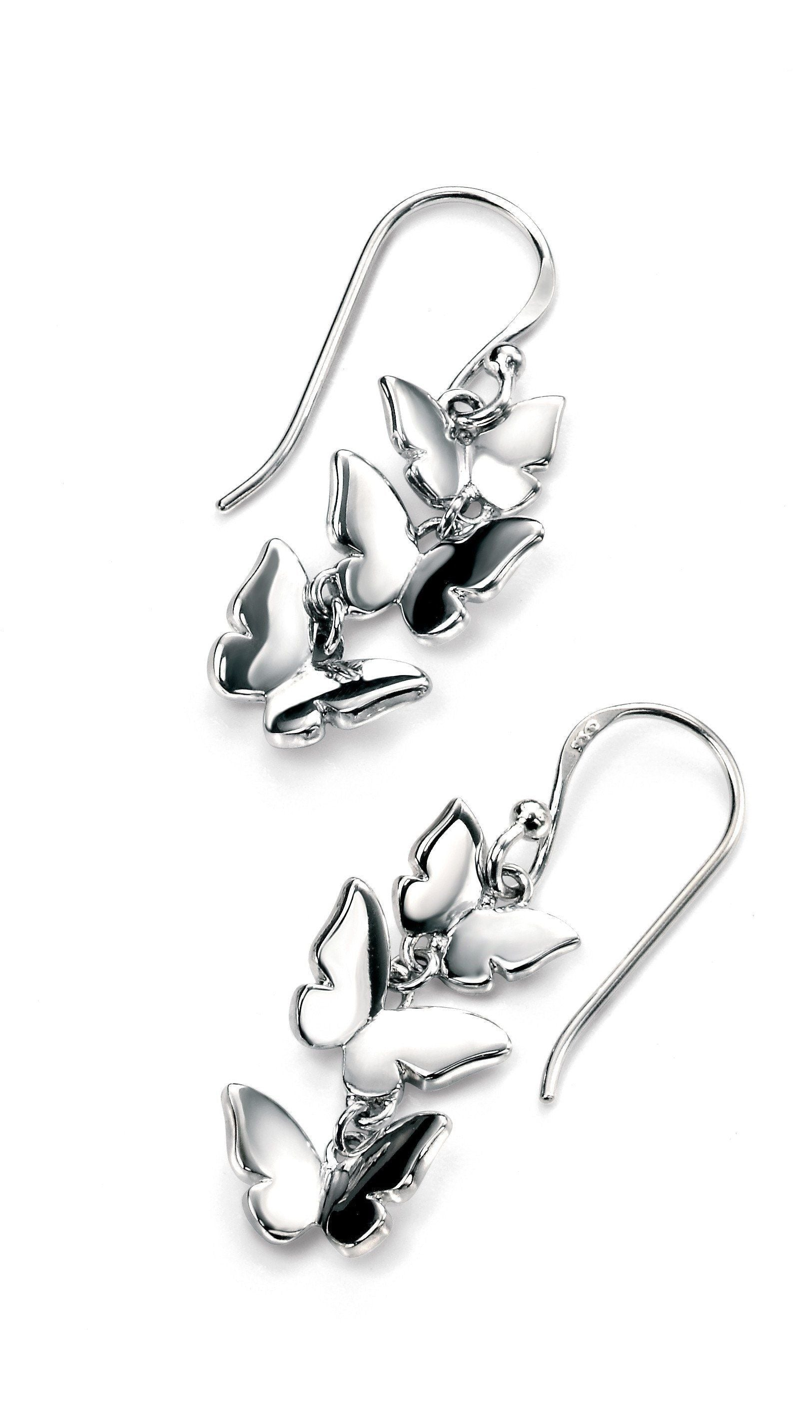 Sterling Silver Butterfly Drop Earrings SV5674E - Jay's Jewellery
