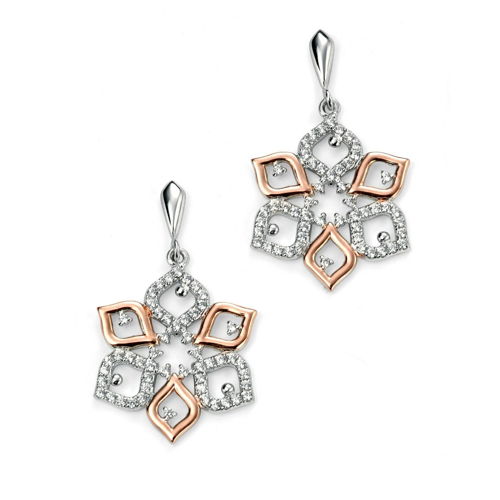 Sterling Silver & Rose Gold Plated Drop Earrings SV4890EC - Jay's Jewellery