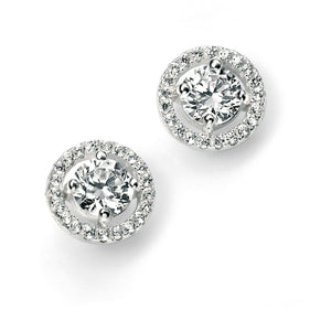 Sterling Silver & Cubic Zirconia Stud Earrings SV4909EC - Jay's Jewellery
