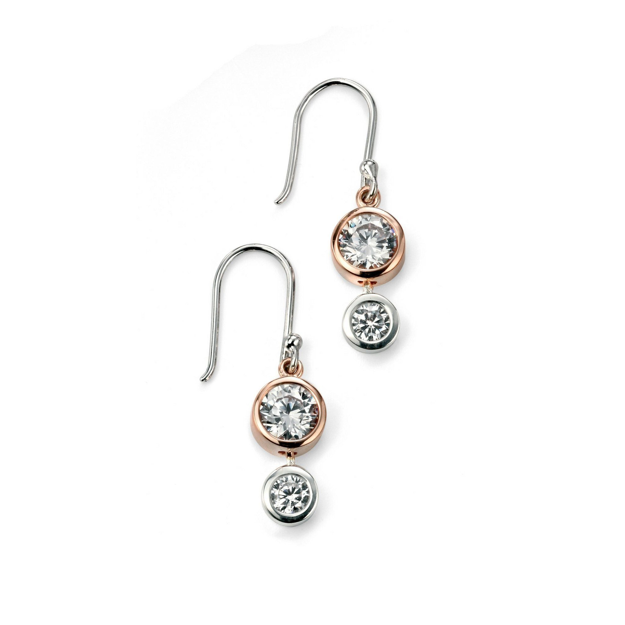 Sterling Silver &a Rose Gold Plated Earrings SV4917EC - Jay's Jewellery