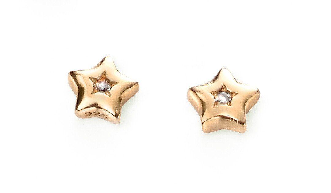 Childrens Sterling Silver & Gold Plate Star Earrings SV5008E - Jay's Jewellery