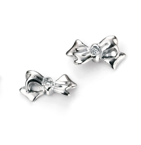 Childrens Sterling Silver Bow Earrings SV4783E - Jay's Jewellery