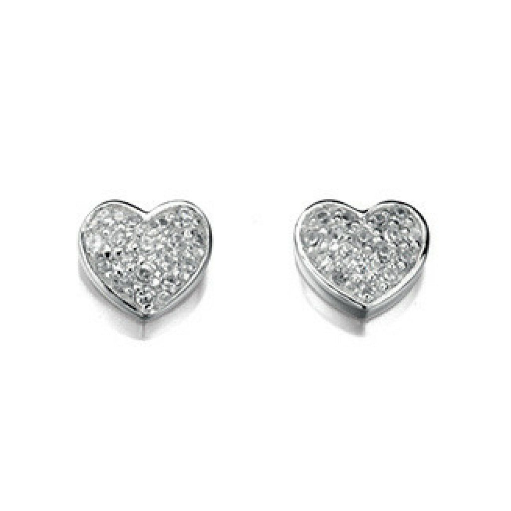 Sterling Silver Heart Shape & Cubic Zirconia Stud Earrings SV4015EC - Jay's Jewellery
