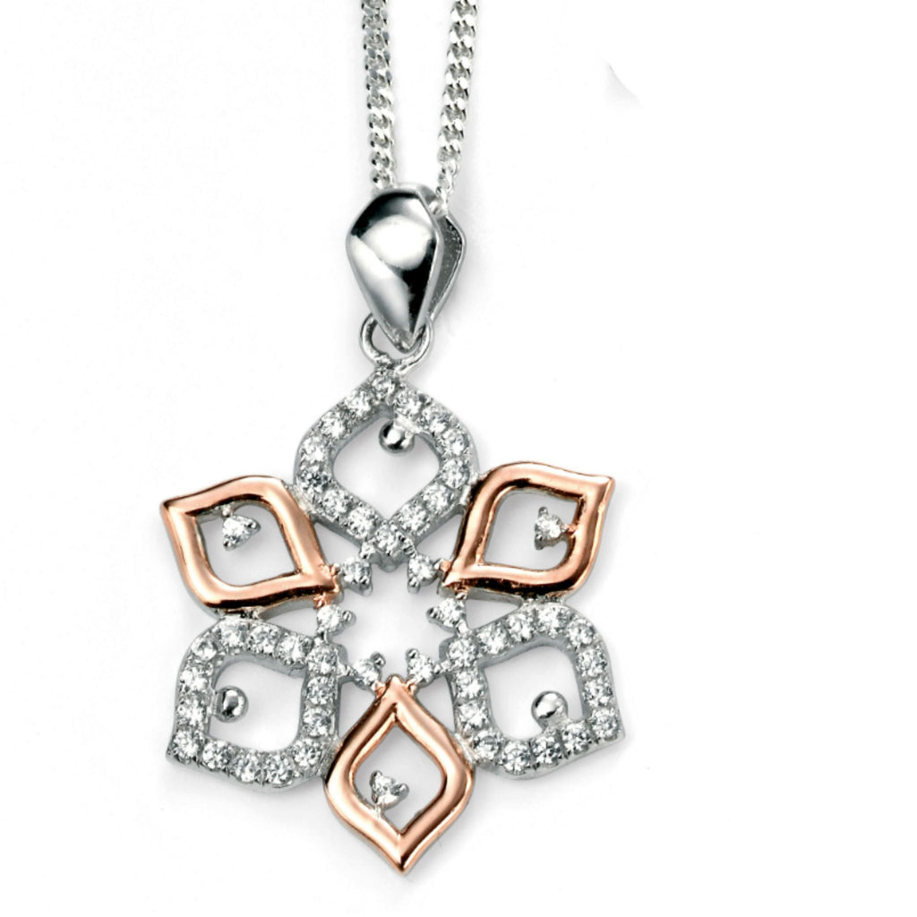 Sterling Silver & Rose Gold Plated Flower Pendant SV4138PC - Jay's Jewellery