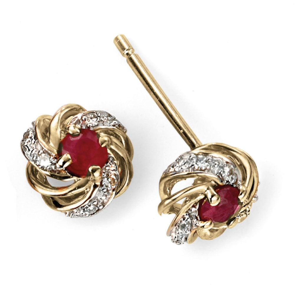 9ct Yellow Gold, Ruby & Diamond Stud Earrings