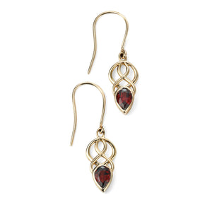 9ct Yellow Gold & Garnet Drop Earrings