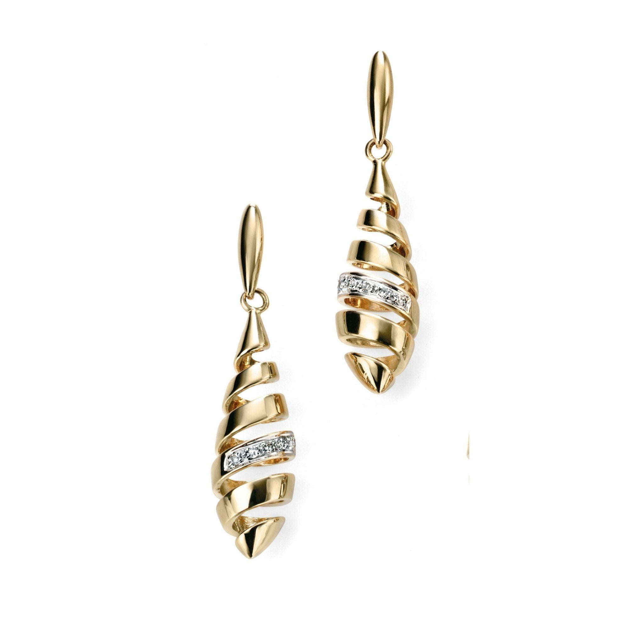 9ct Yellow Gold & Diamond Drop Earrings Earrings