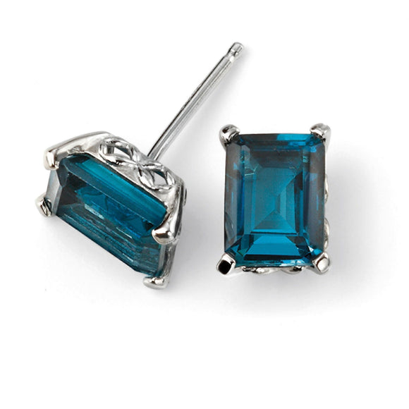 9ct White Gold London Blue Topaz Earrings