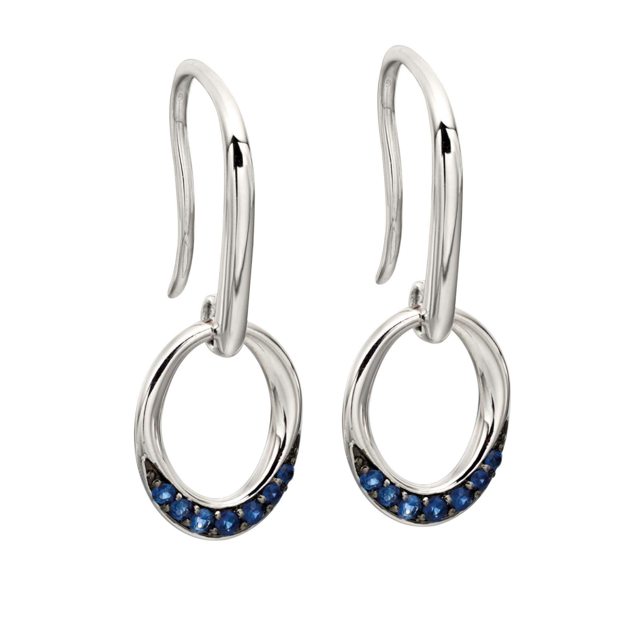 9ct White Gold & Sapphire Drop Earrings