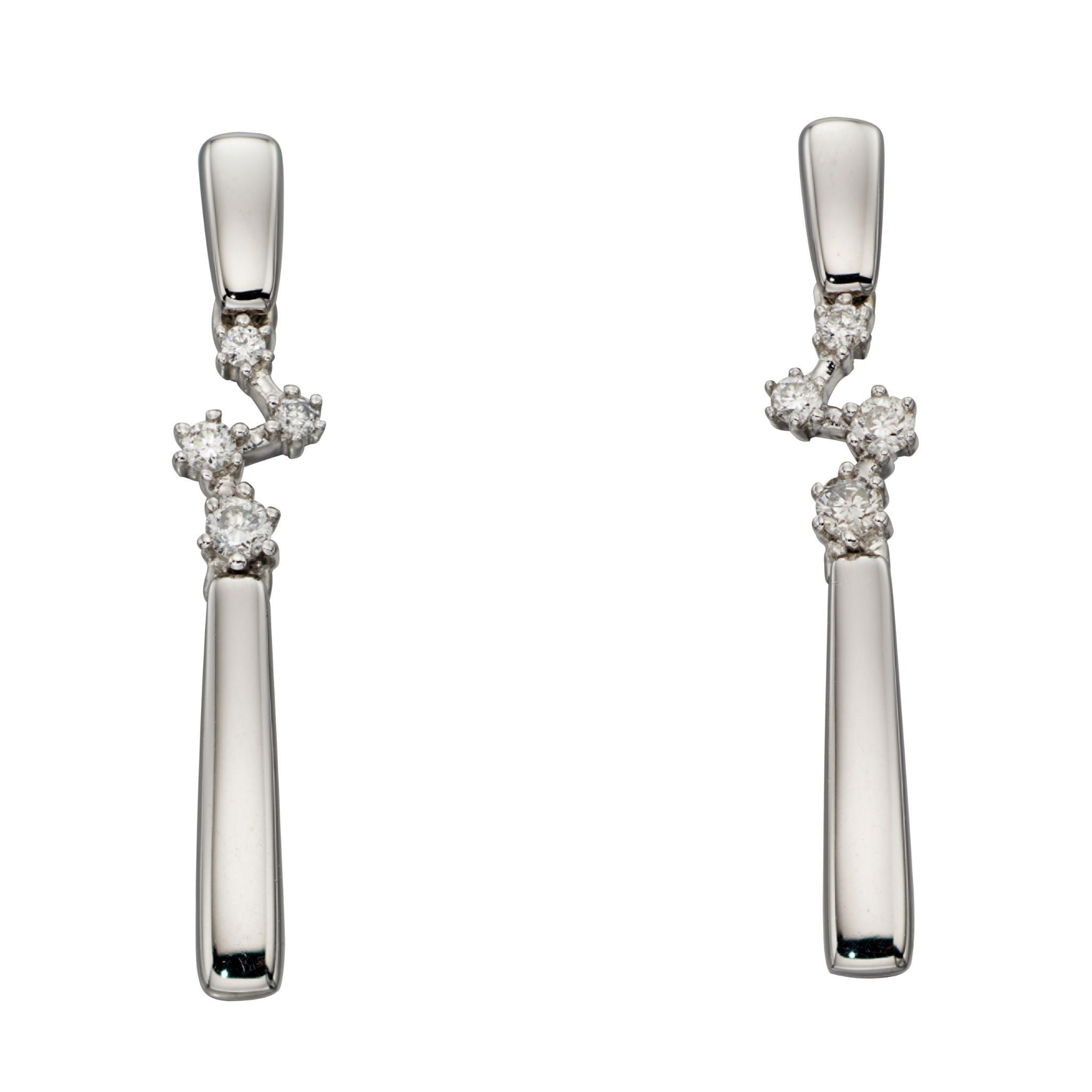 9ct White Gold & Diamond Drop Earrings