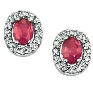 9ct White Gold Ruby & Diamond Stud Earrings