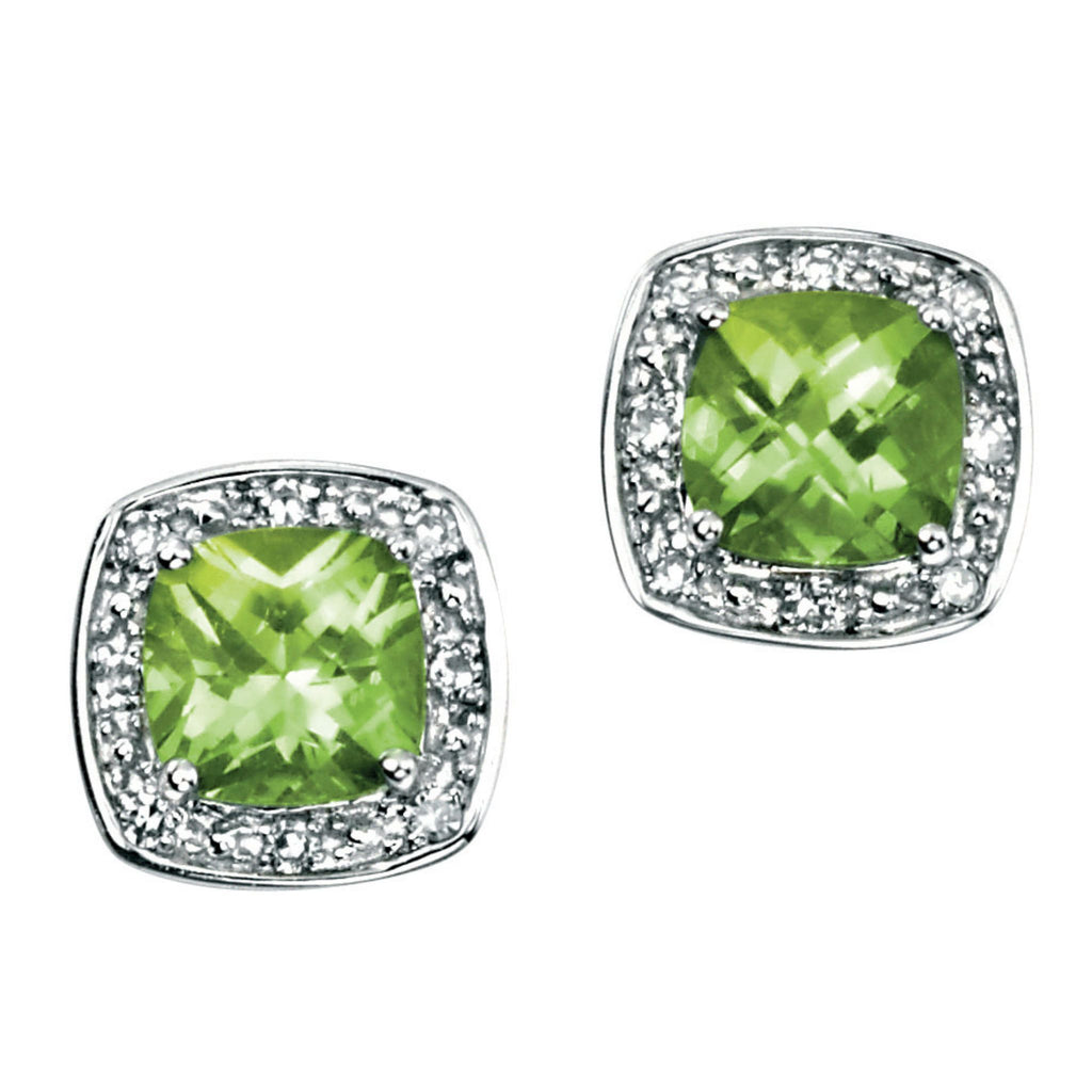 9ct White Gold, Peridot & Diamond Stud Earrings