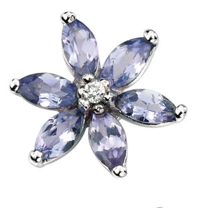 9ct White Gold Tanzanite & Diamond Stud Earrings