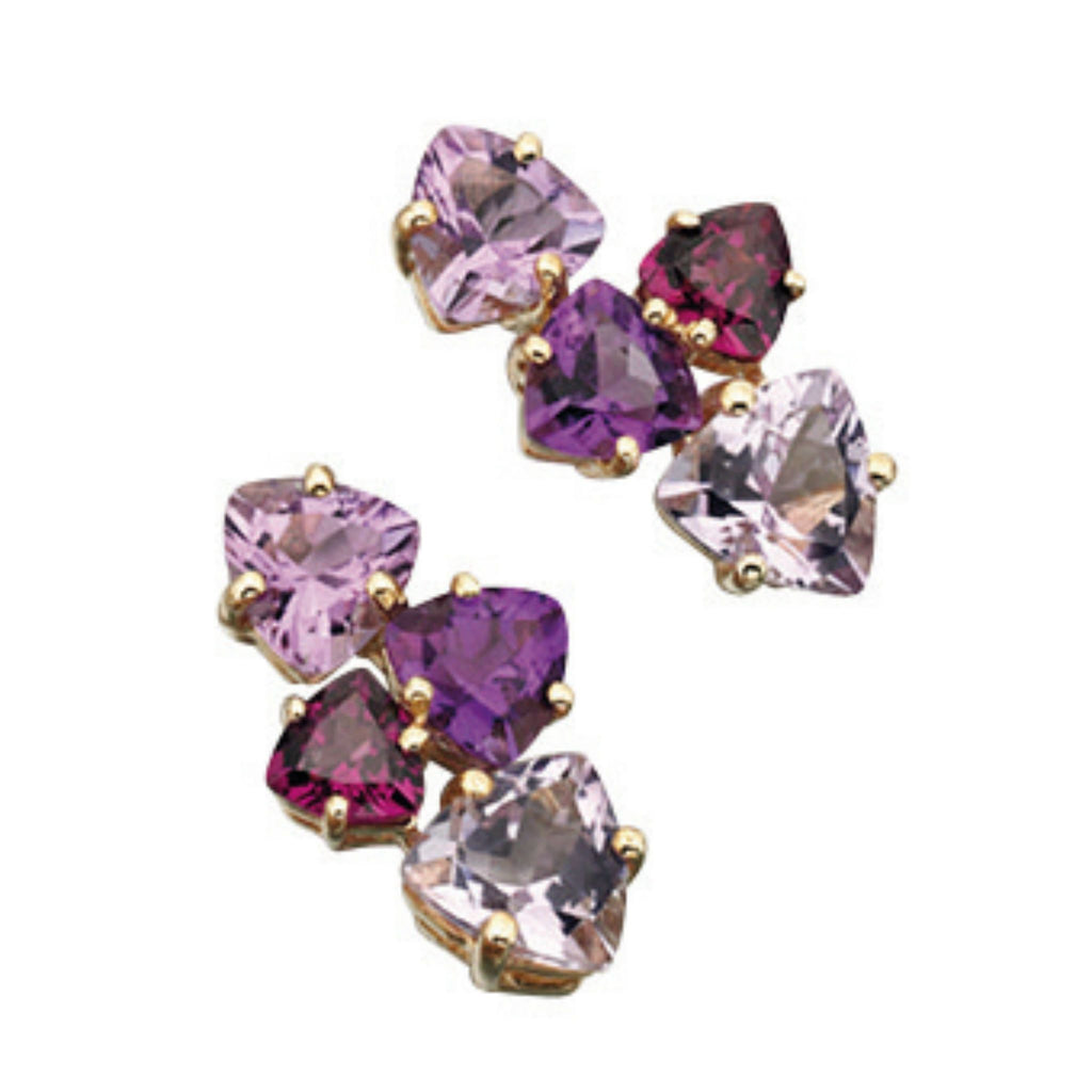 9ct Yellow Gold Multi Gem Stud Earrings