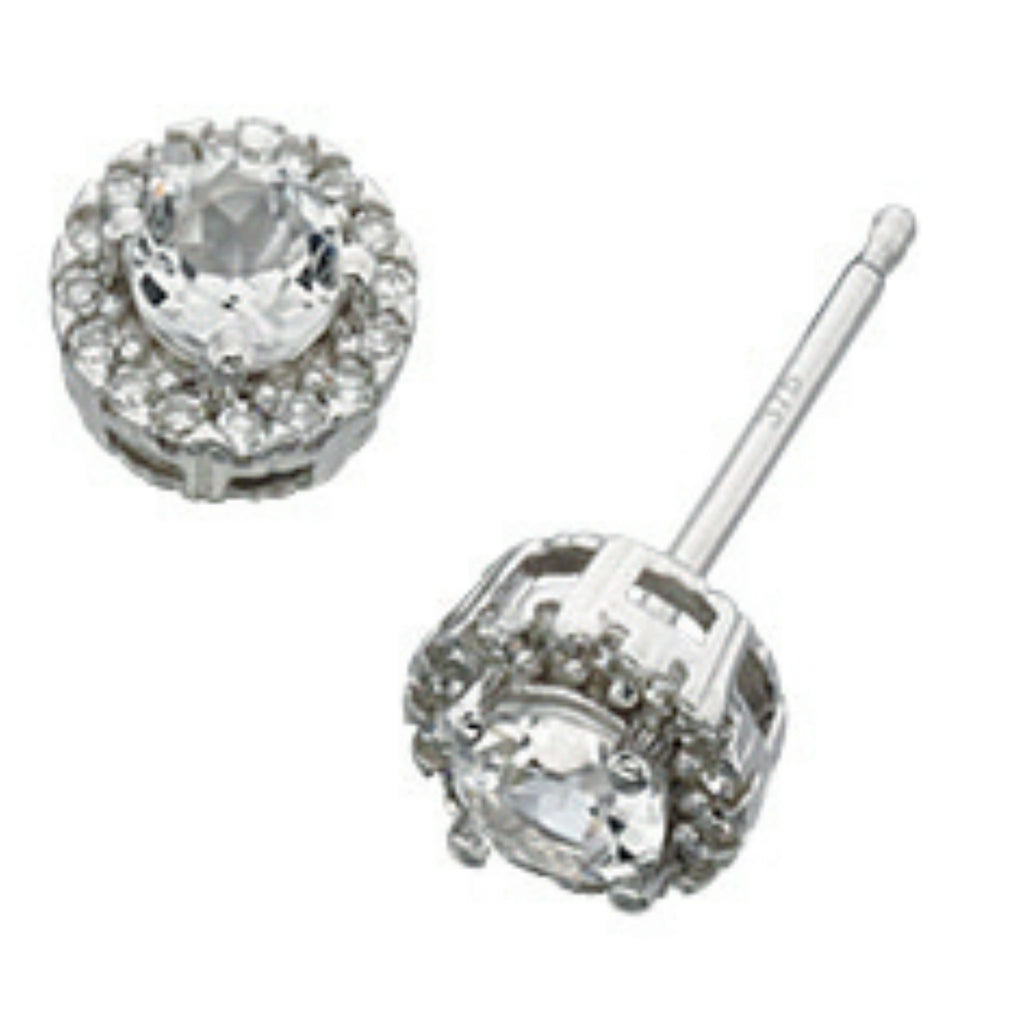 9ct White Gold, White Topaz & Diamond Stud Earrings