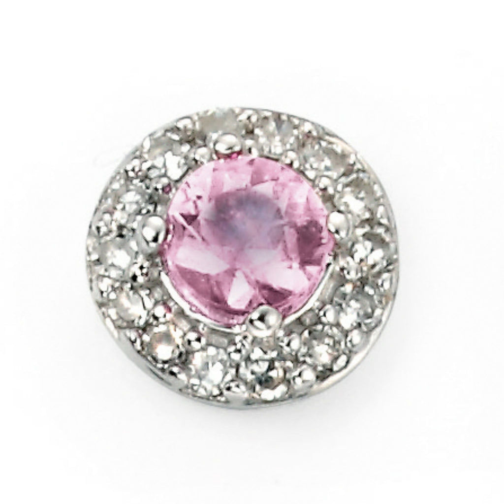 9ct White Gold Pink Sapphire & Diamond Stud Earrings