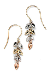 9ct Yellow/White/Rose Gold Drop Earrings