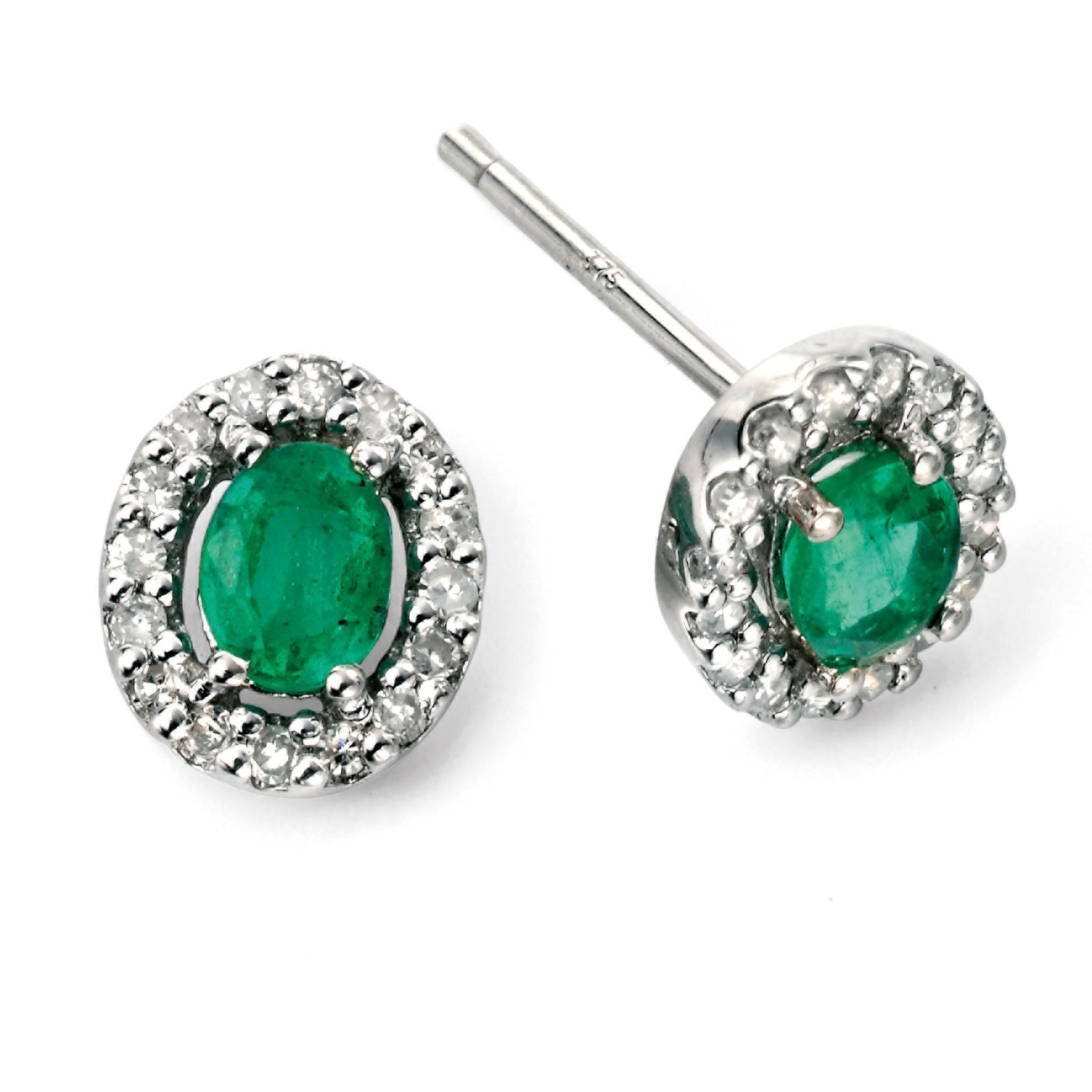 9ct White Gold Emerald & Diamond Stud Earrings