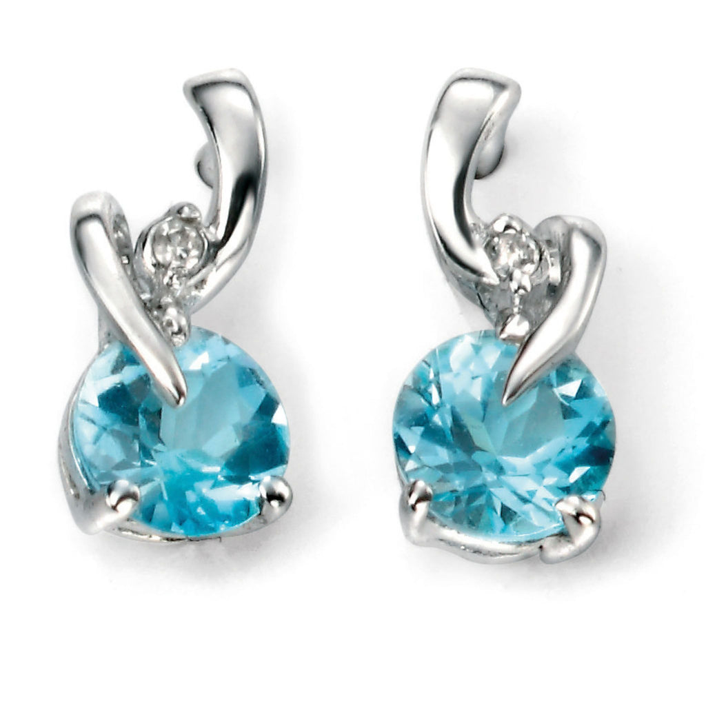 9ct White Gold Blue Topaz & Diamond Earrings