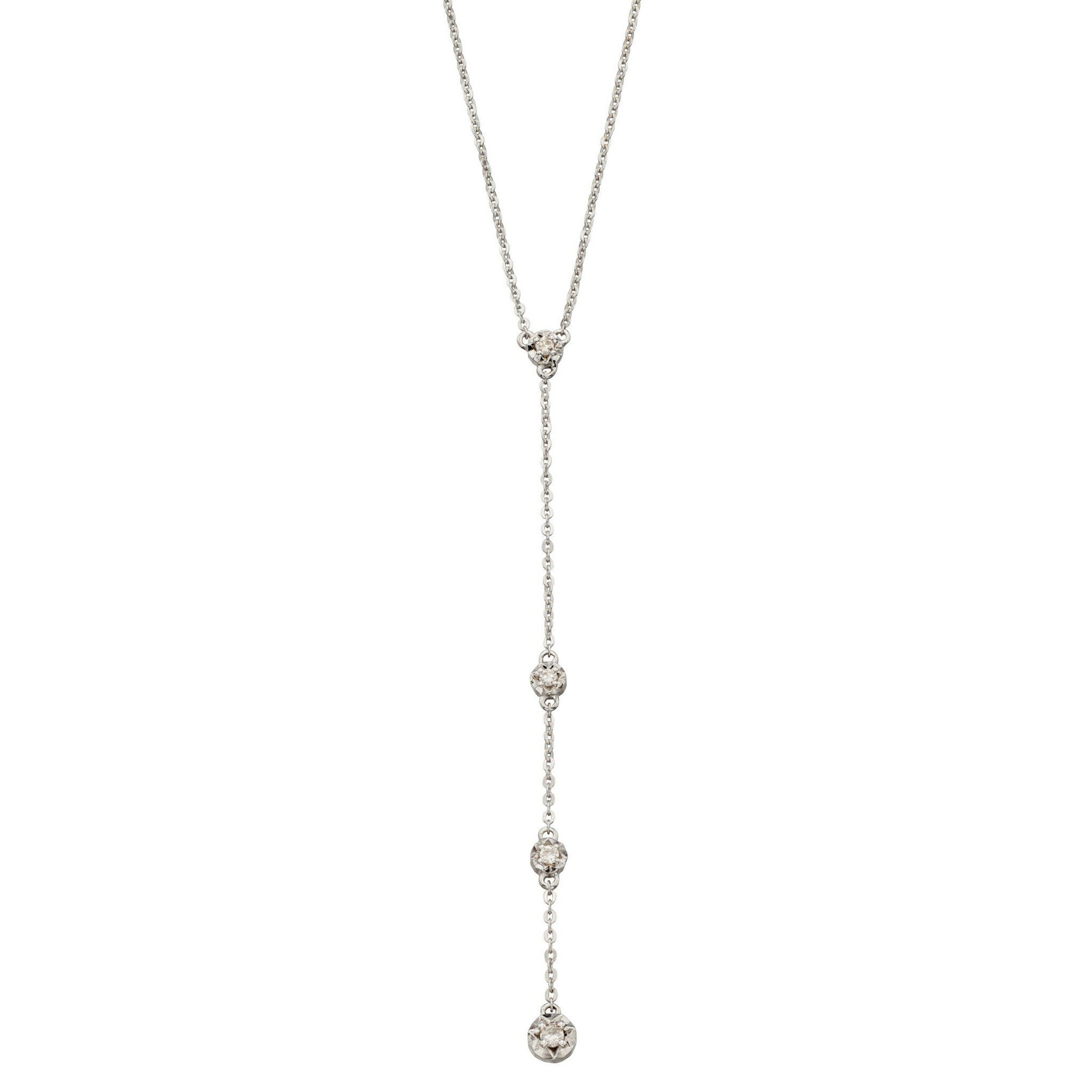 9ct White Gold & Diamond Necklace