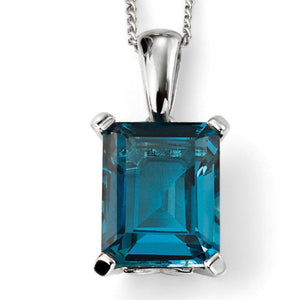 9ct White Gold London Blue Topaz Pendant