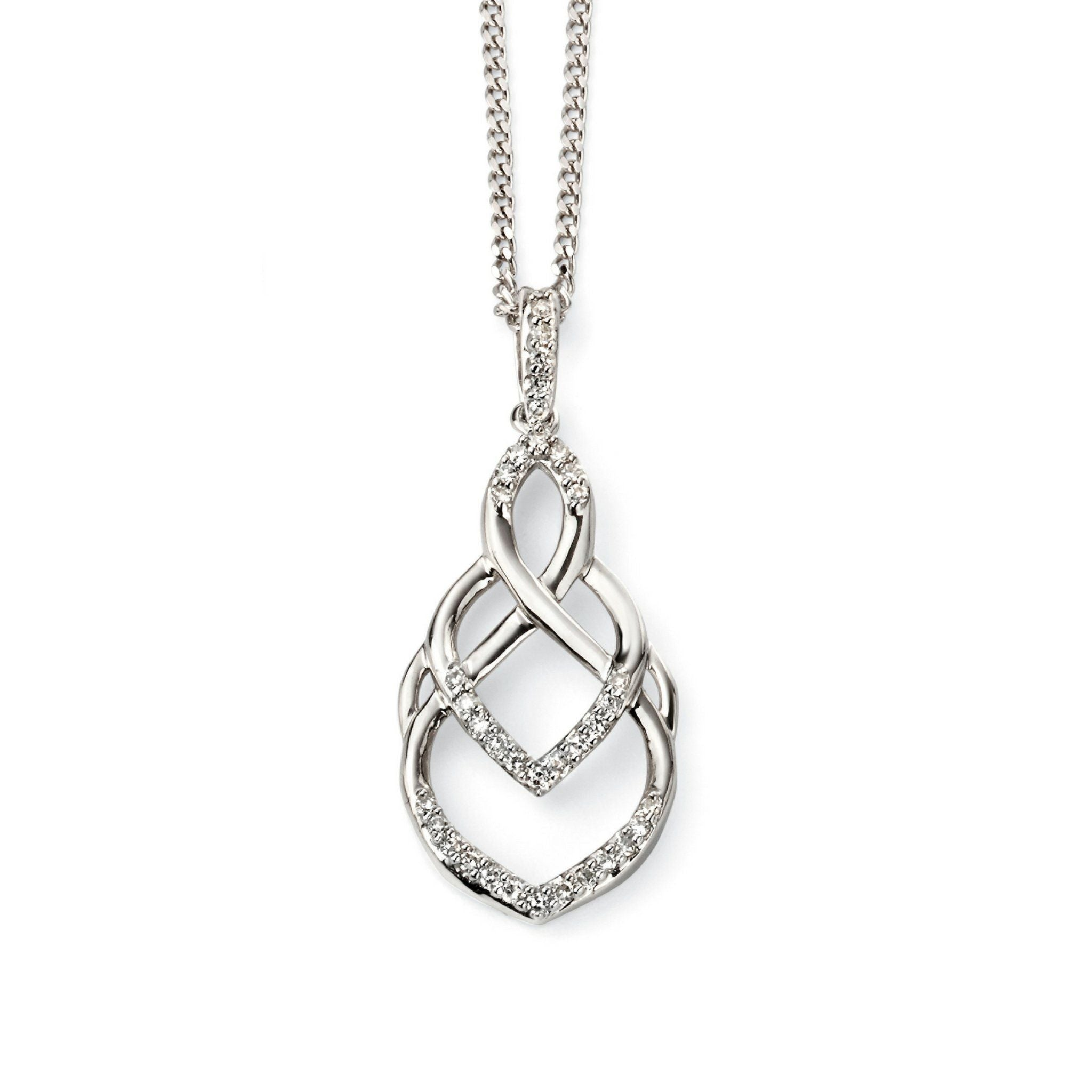 9ct White Gold & Diamond Pendant