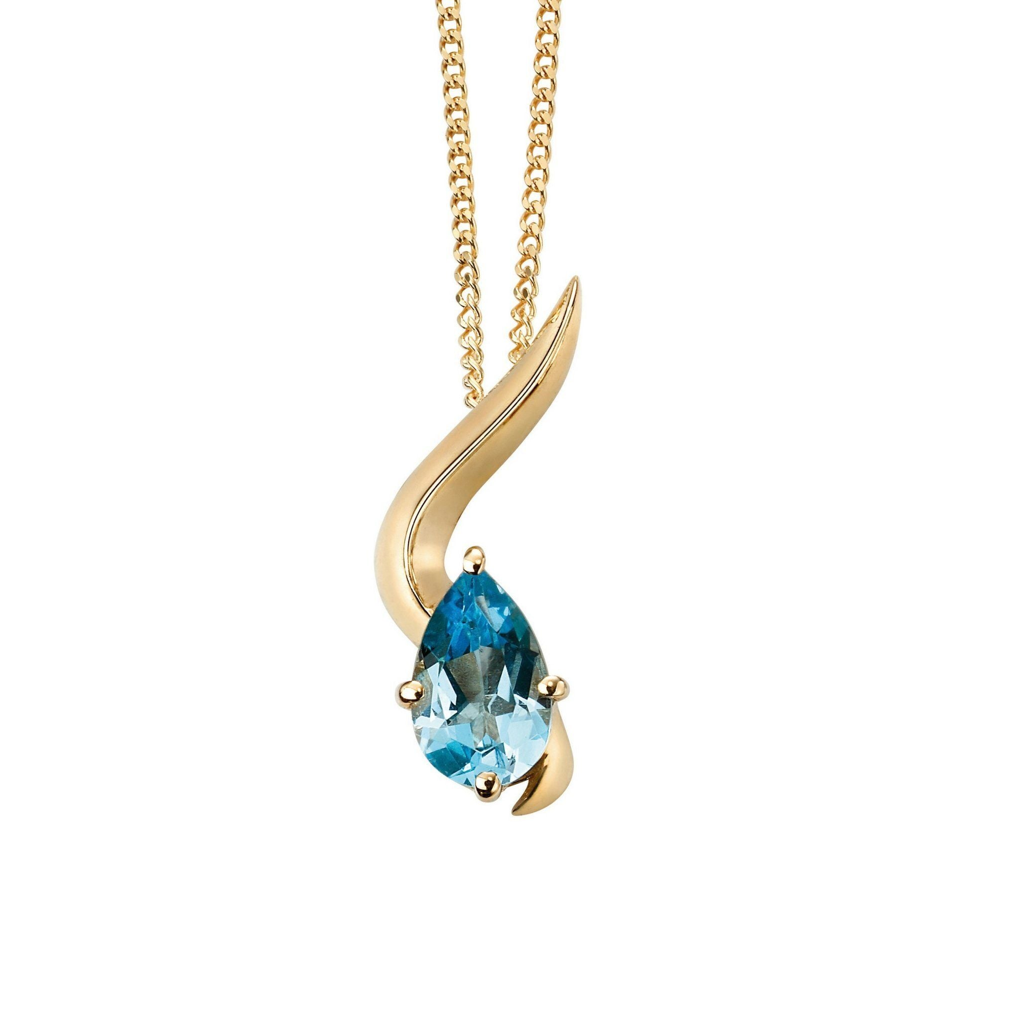 9ct Yellow Gold & Blue Topaz Pendant