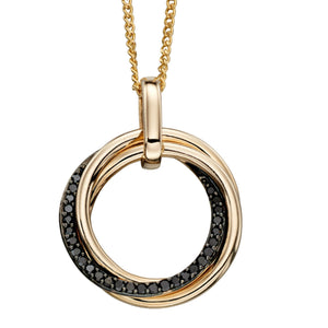 9ct Yellow Gold & Black Diamond Pendant