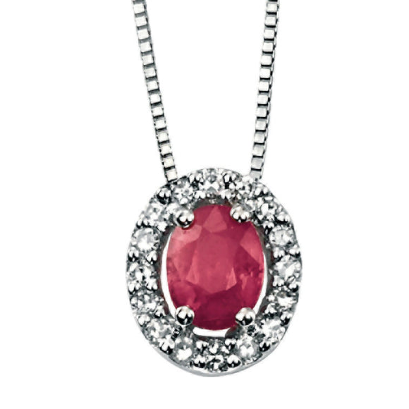 9ct White Gold Ruby & Diamond Pendant