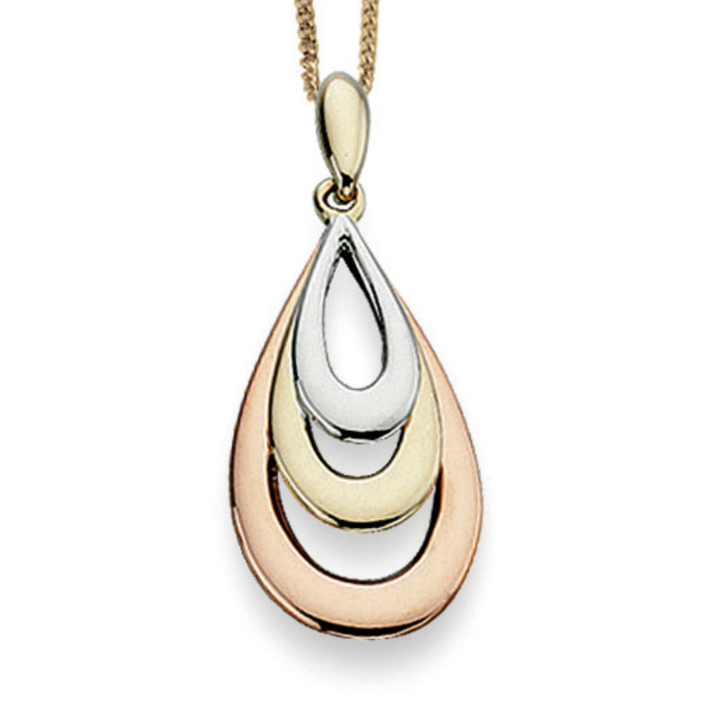 9ct Yellow White & Rose Gold Pendant