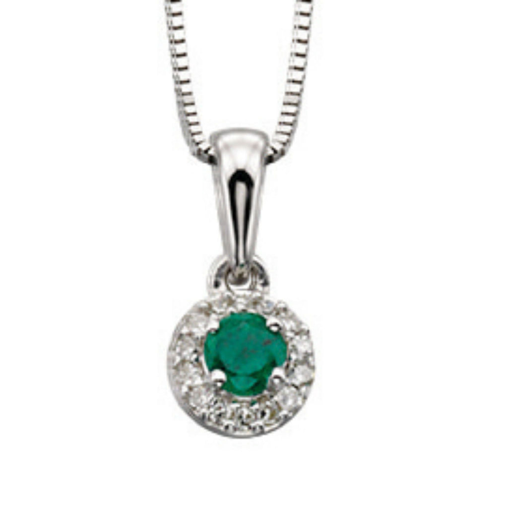 9ct White Gold Emerald & Diamond Pendant