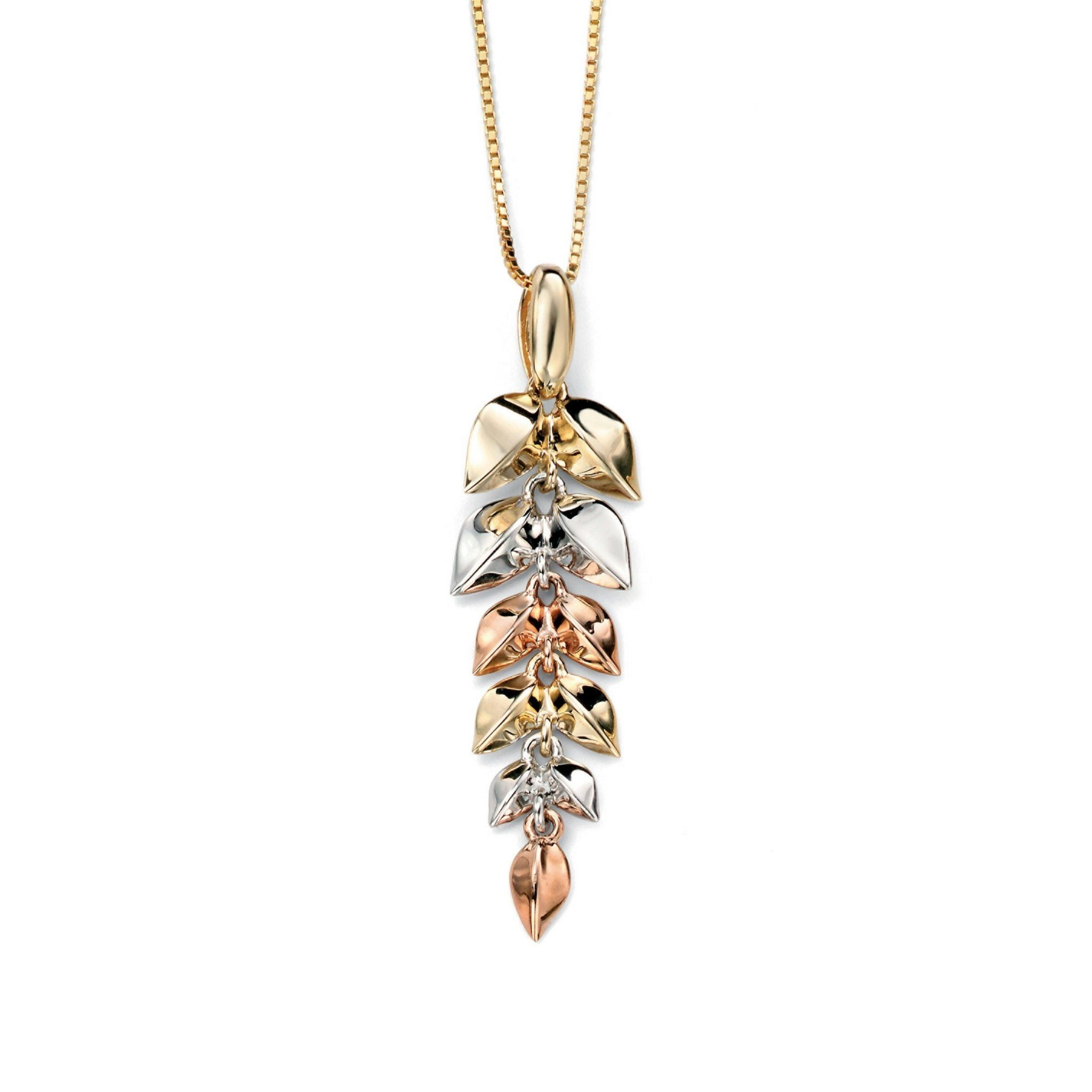 9ct Yellow White & Rose Gold Leaf Pendant