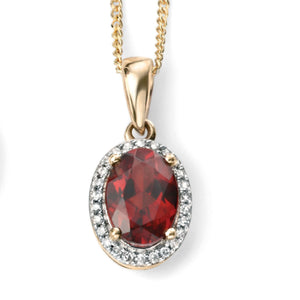 9ct Yellow Gold, Garnet & Diamond Pendant