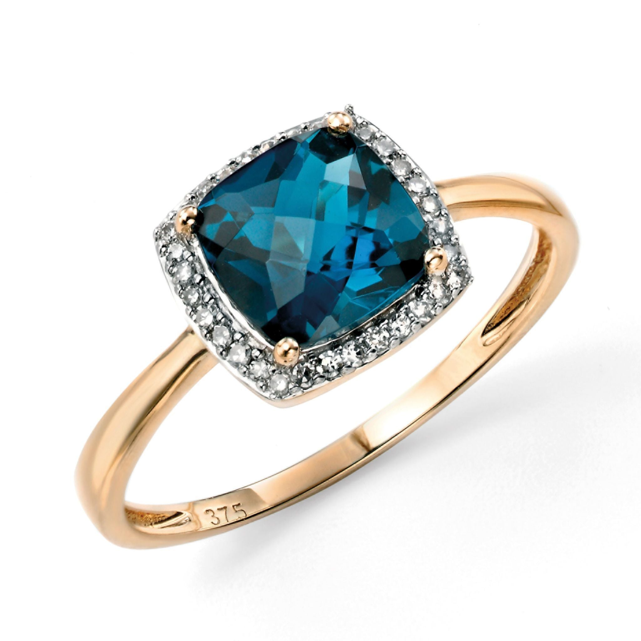 9ct Yellow Gold London Blue Topaz & Diamond