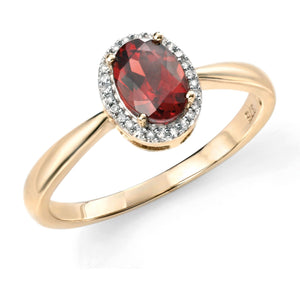 9ct Yellow Gold Garnet & Diamond Ring