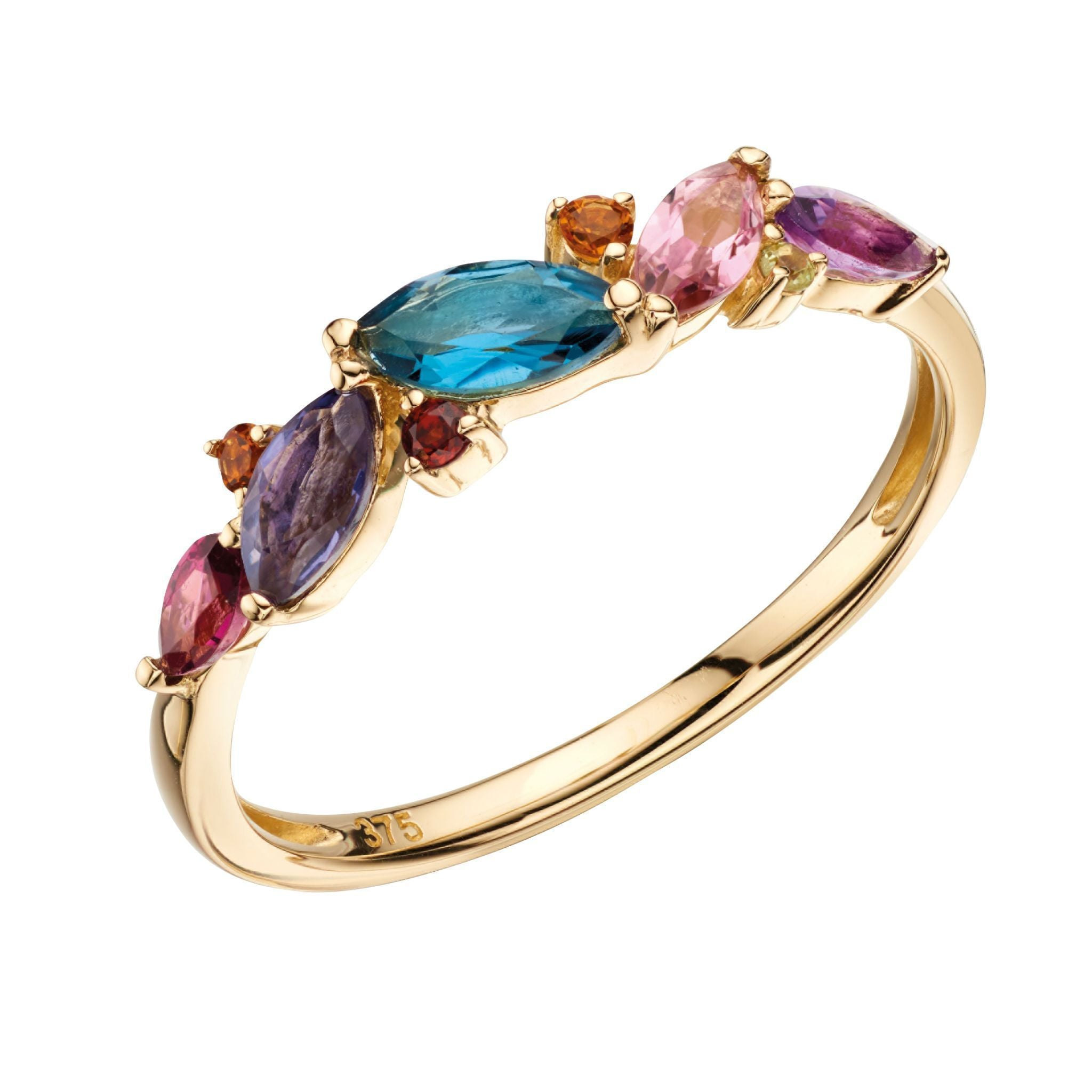 9ct Yellow Gold Multi Gemstone Ring