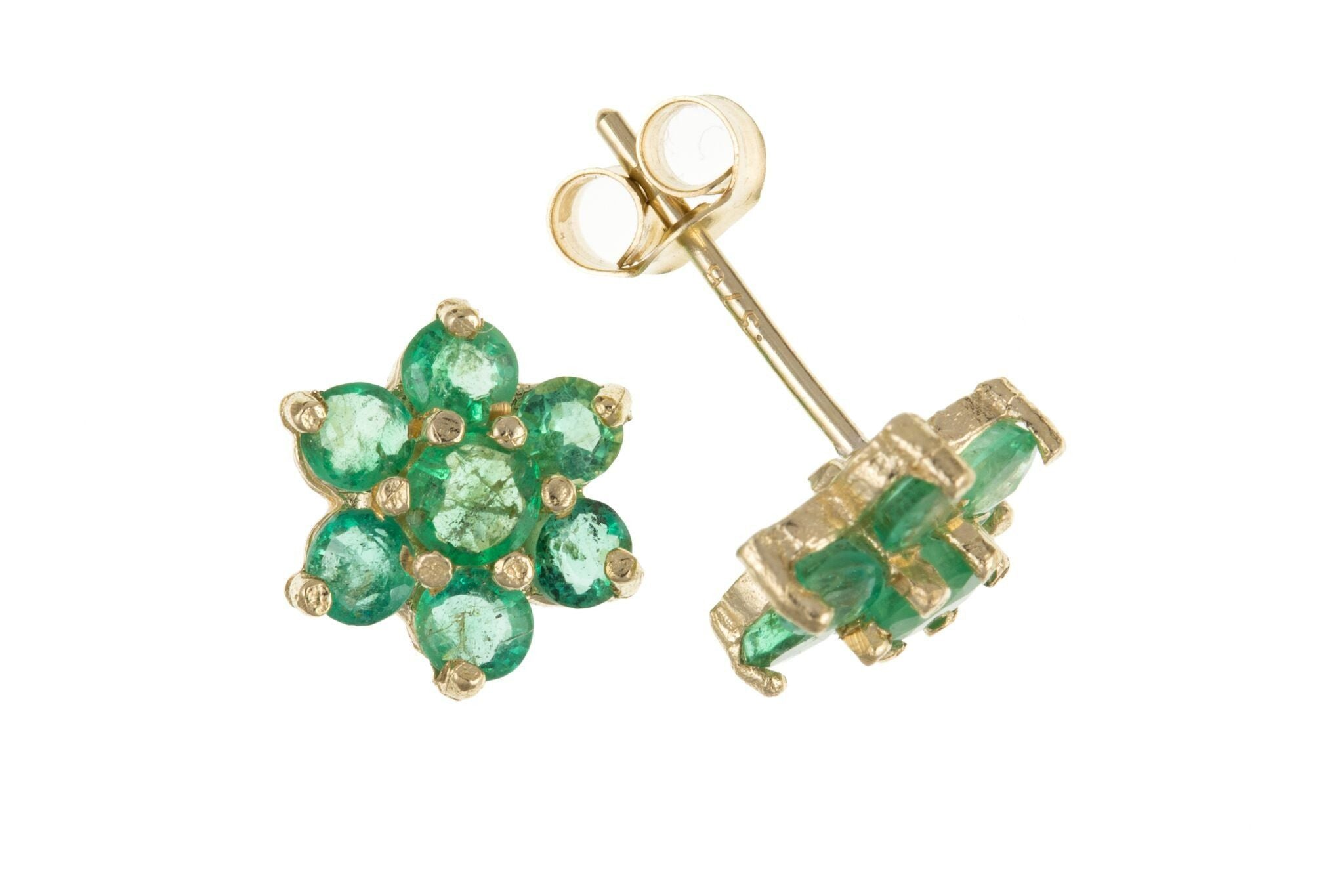 9ct Yellow Gold Emerald Flower Stud Earrings