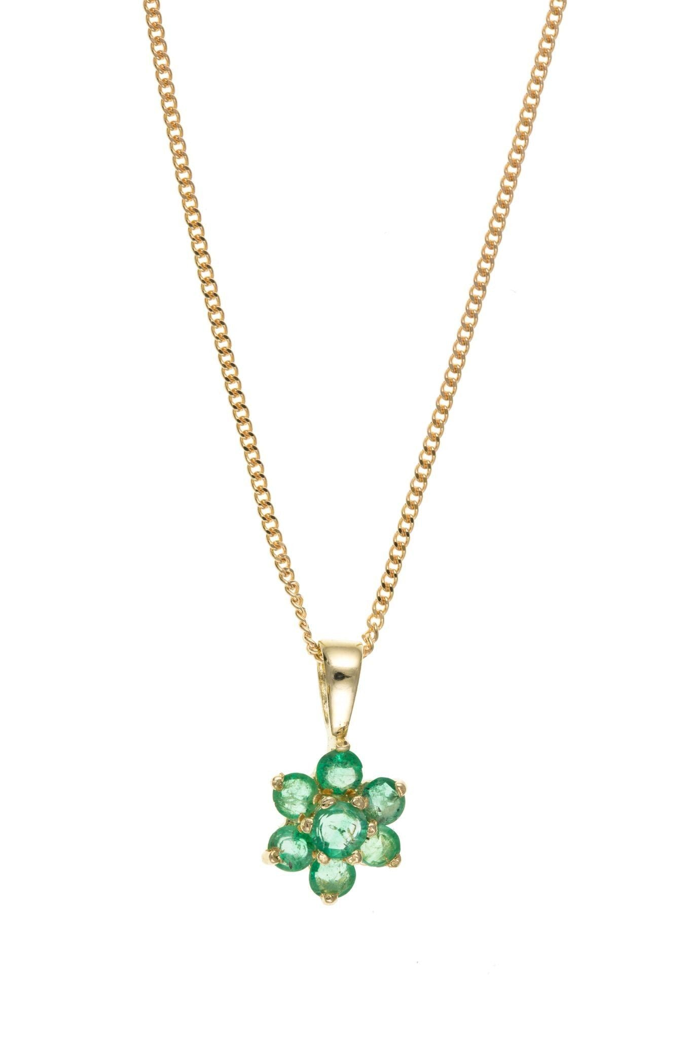 9ct Yellow Gold Emerald Flower Pendant
