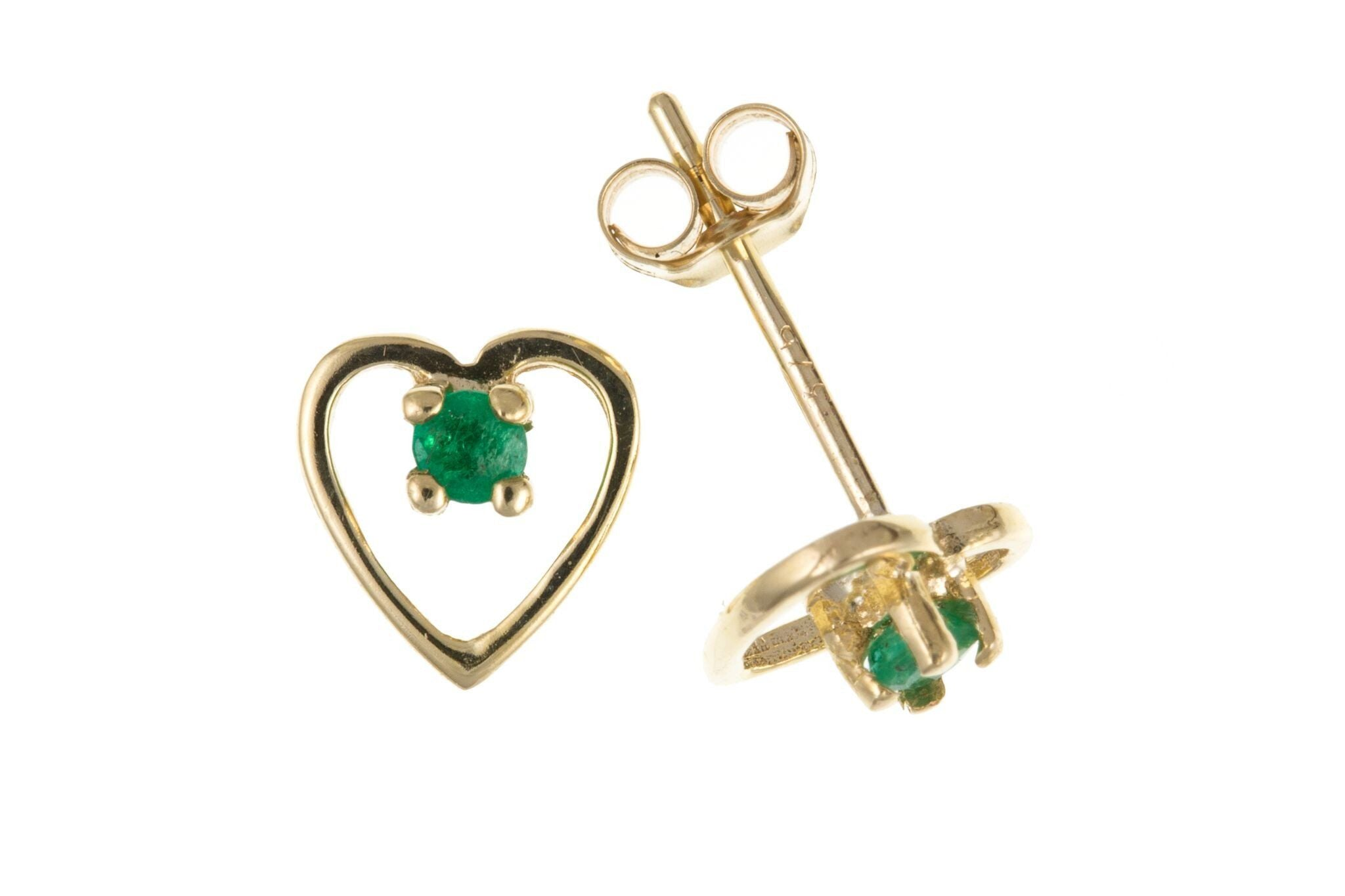9ct Yellow Gold Emerald Heart Stud Earrings