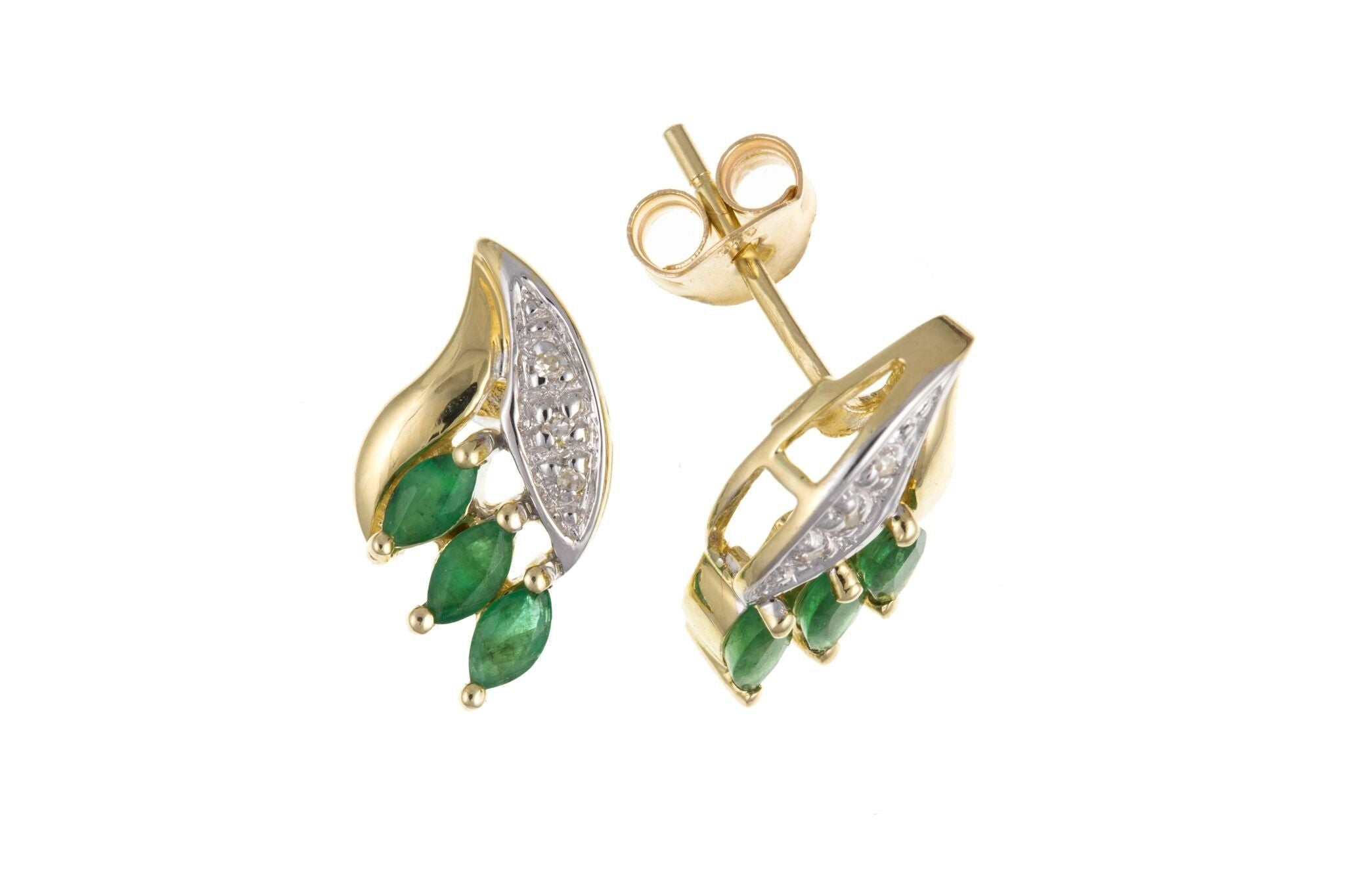 9ct Yellow Gold Emerald & Diamond Stud Earrings