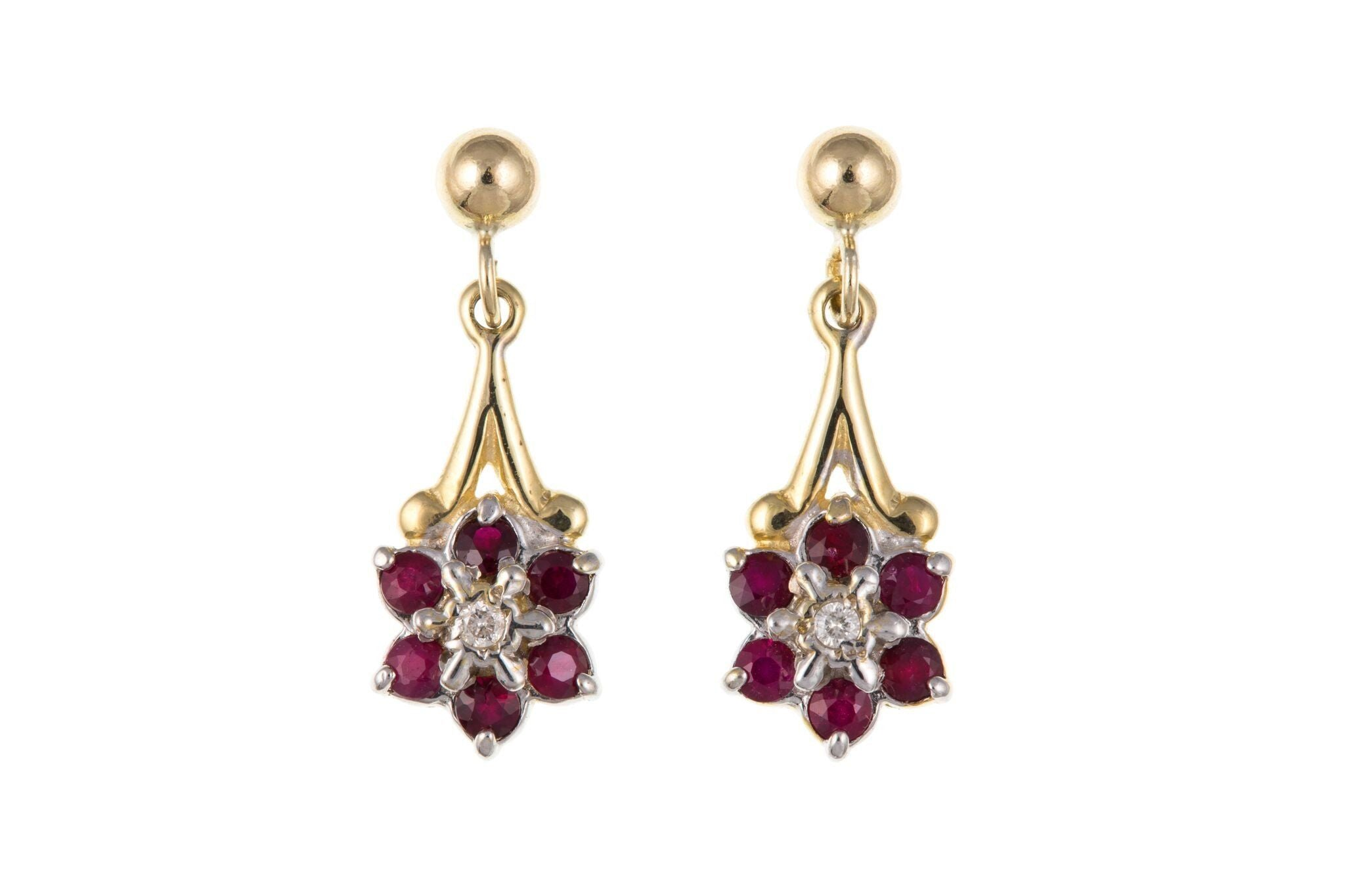 9ct Yellow Gold Ruby & Diamond Stud Earrings